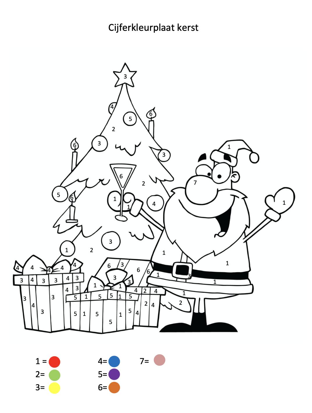 Cijferkleurplaat kerst