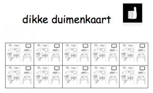 Dikke duimenkaart spelen werken Juf Maike