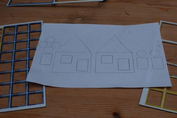 Tekenen door in de figuurtjes te tekenen van afval van spelletjes.