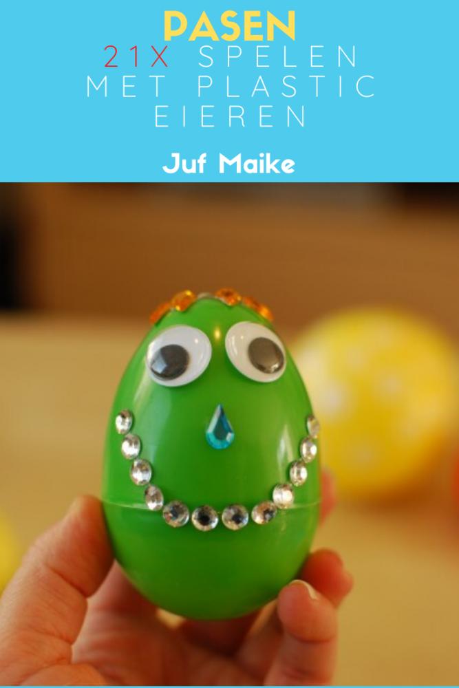 Spelen met plastic eieren thema lente/Pasen