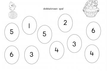 dobbelsteen spel pasen 6