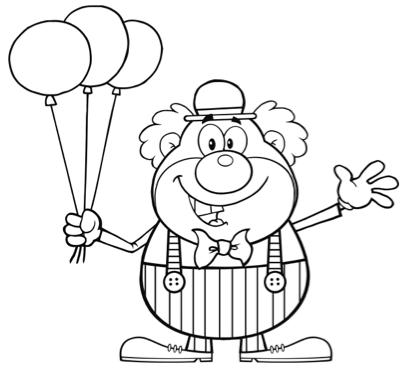 Kleurplaat clown