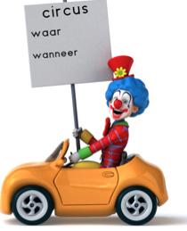 Aankondiging circus clown