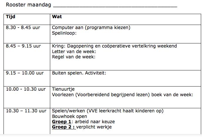 Weekplanning continurooster 1