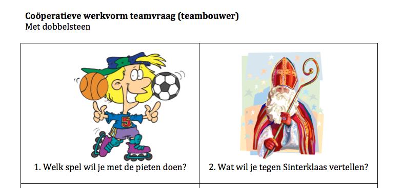 Cooperatieve werkvorm Sinterklaas teamvraag