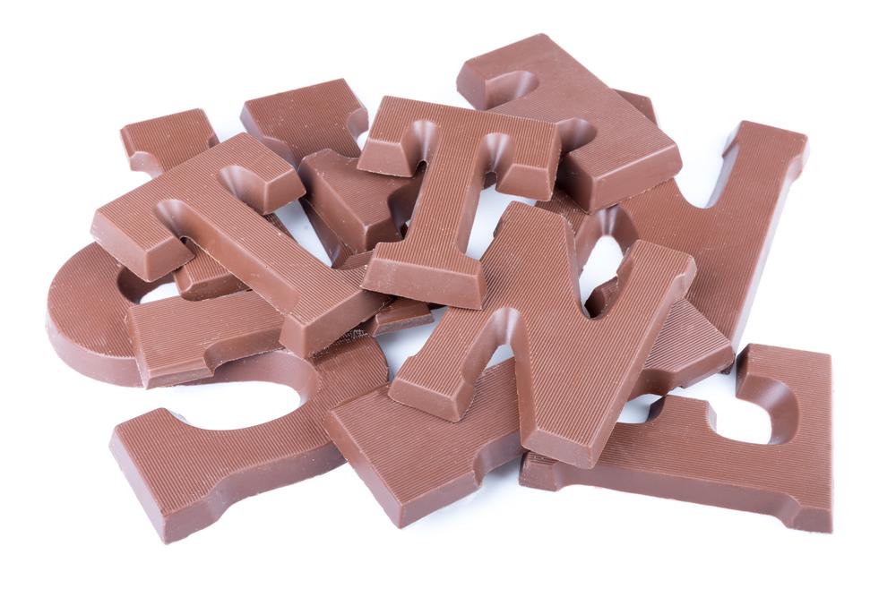 Chocoladeletter kaarten download