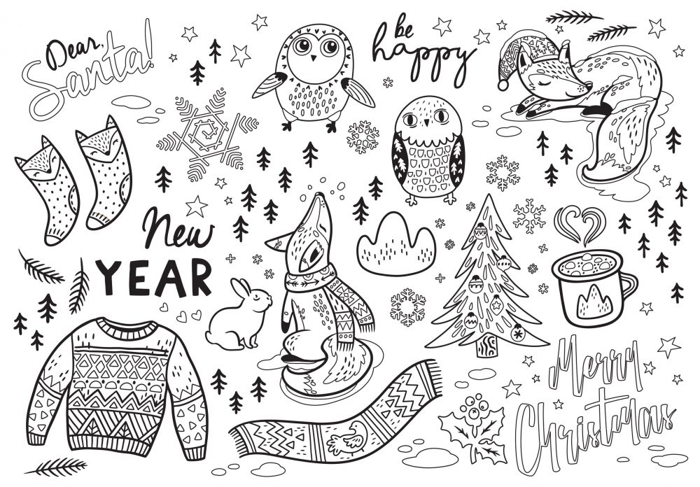 Black and white winter print in cartoon style. Vector illustration