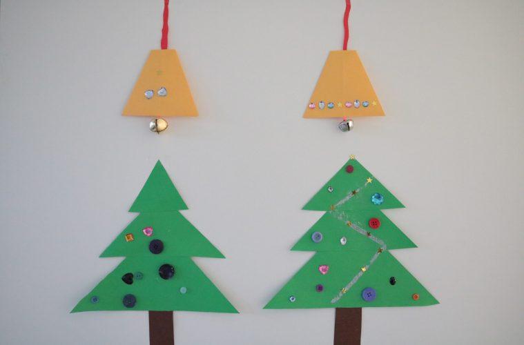 Kerstklok en kerstboom knutselen