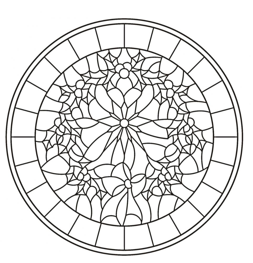 Glas in lood kleurplaat Rond bloemen
