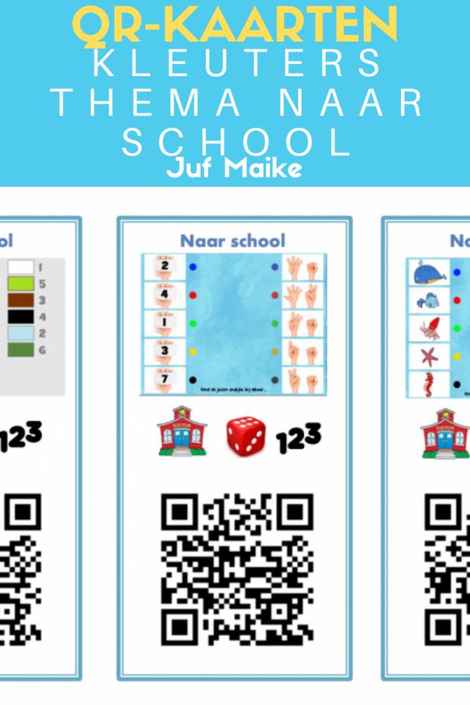 QR-kaarten kleuters thema Naar school