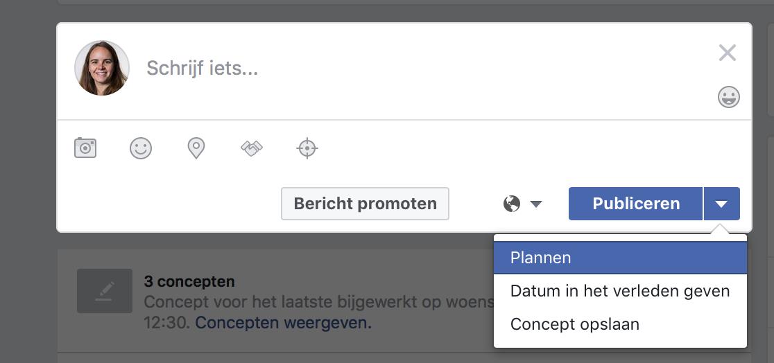 Facebook vooruit plannen