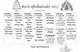 Kerst aftelkalender 2017 voor leerkrachten