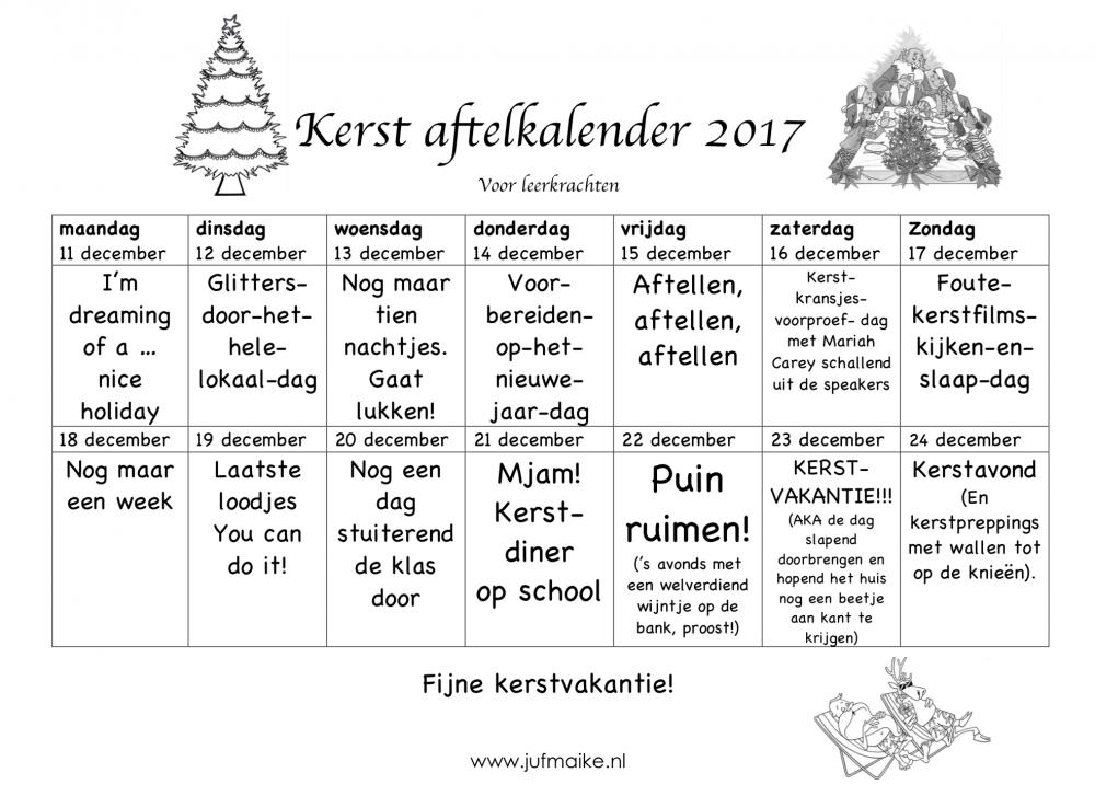Kerst aftelkalender leerkracht 2017