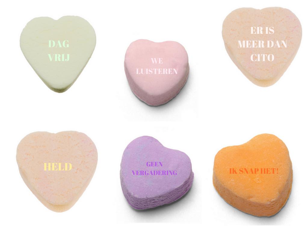 Snoep hartjes voor de leerkracht