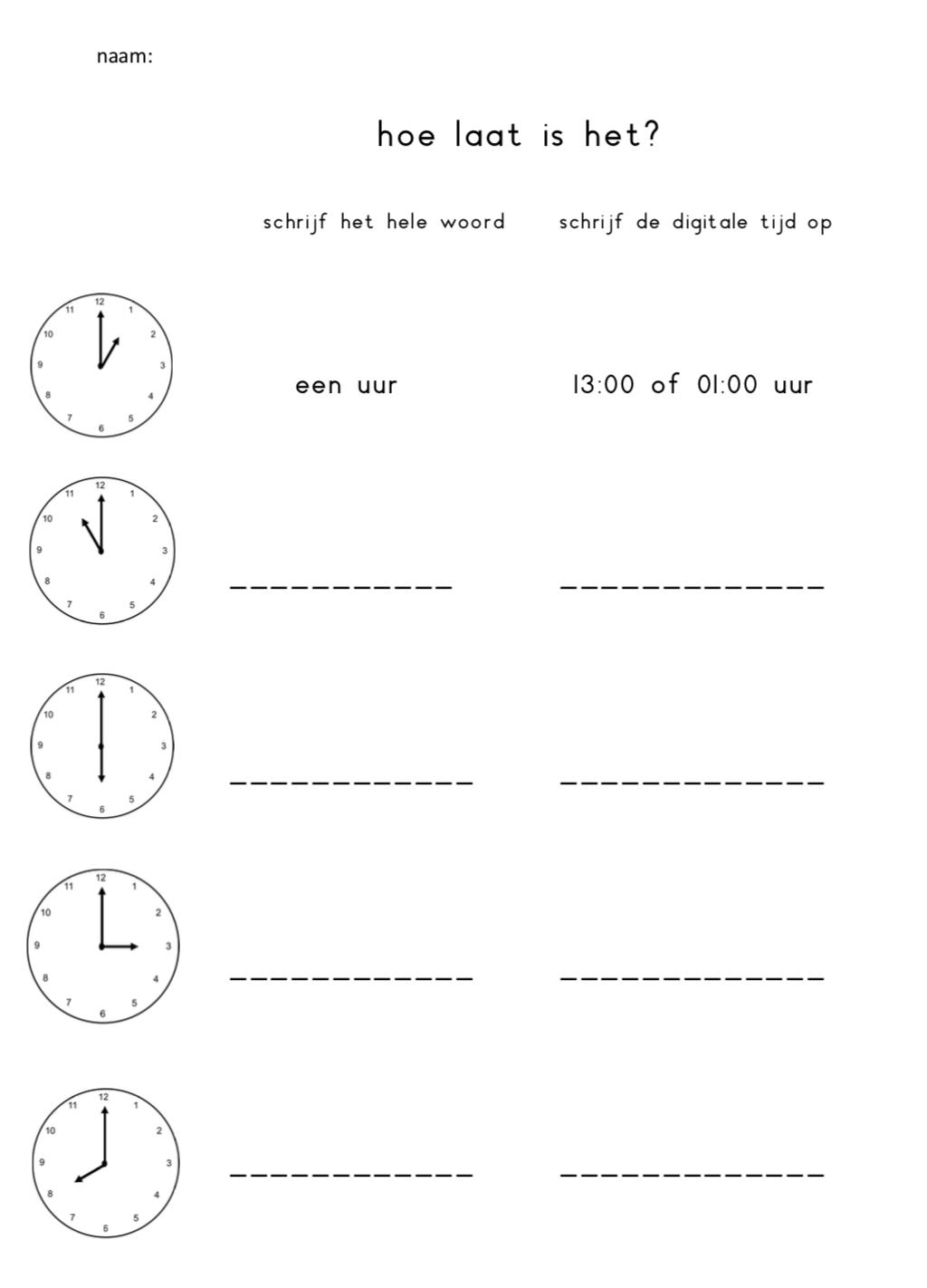Invul werkblad klok hele uren