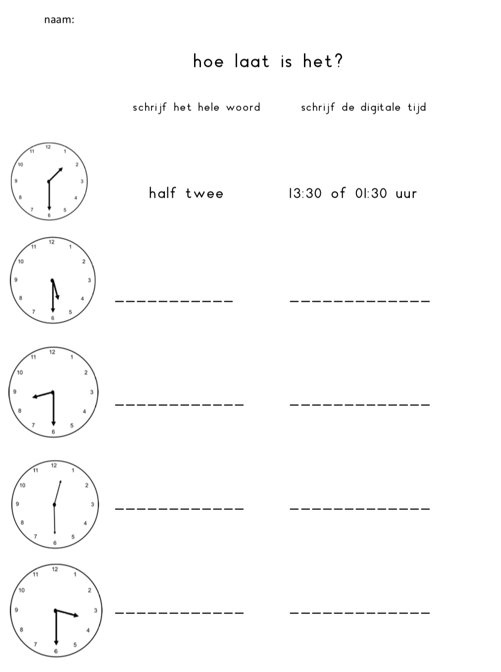 Invul werkblad klok halve uren