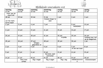 Aftelkalender zomervakantie 2018 voor leerkrachten