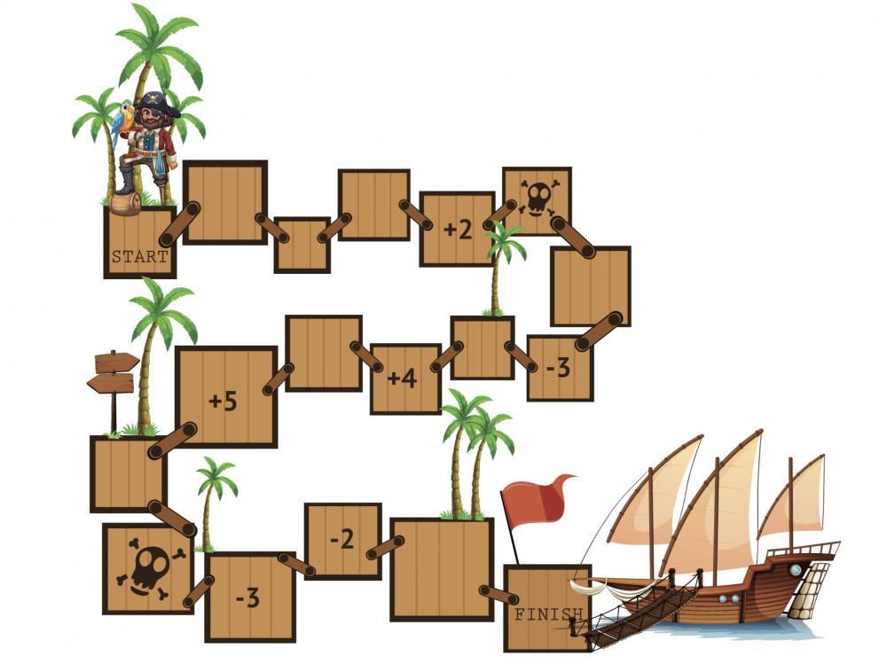 Piraten bordspel met sommen