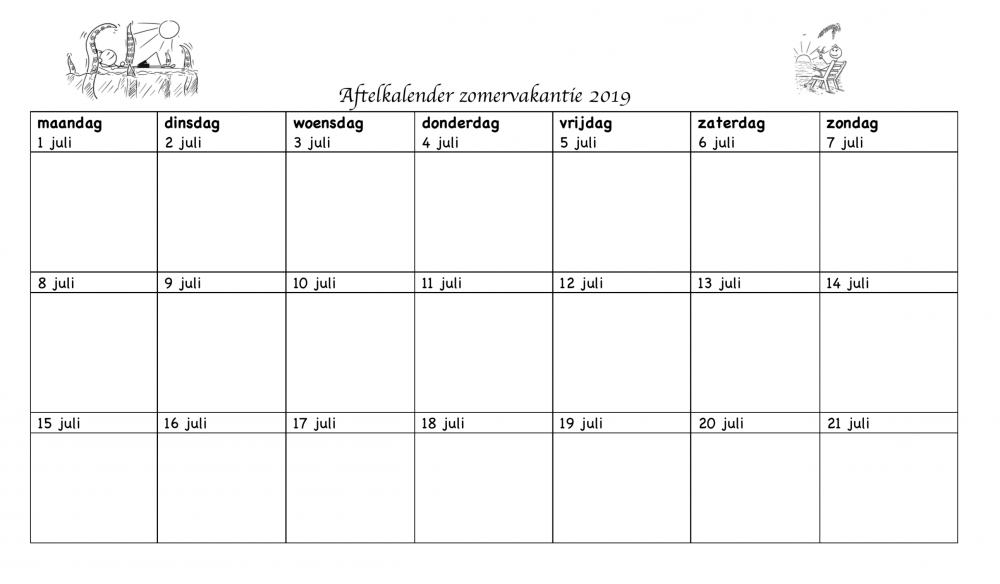 Aftelkalender zomervakantie voor leerkrachten