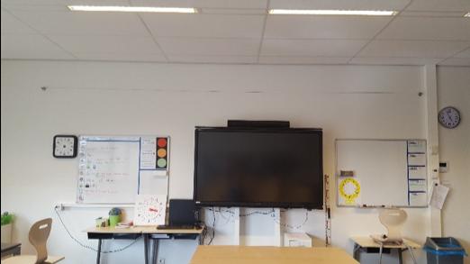 Het klaslokaal van Jamie Lee whiteboarden