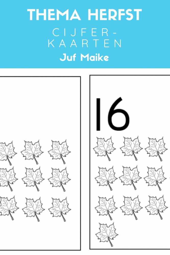 Leren tellen met deze cijferkaarten thema herfst + tips/opdrachten