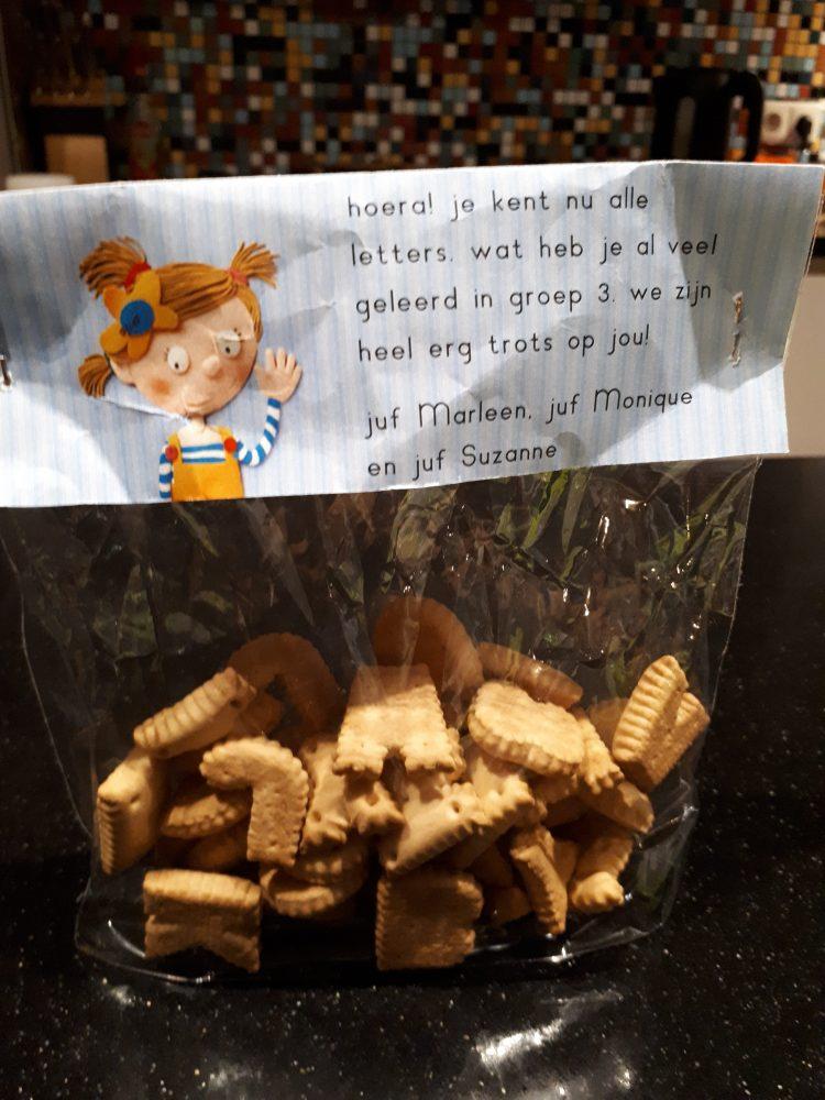 Letterfeest groep 3 koekjes