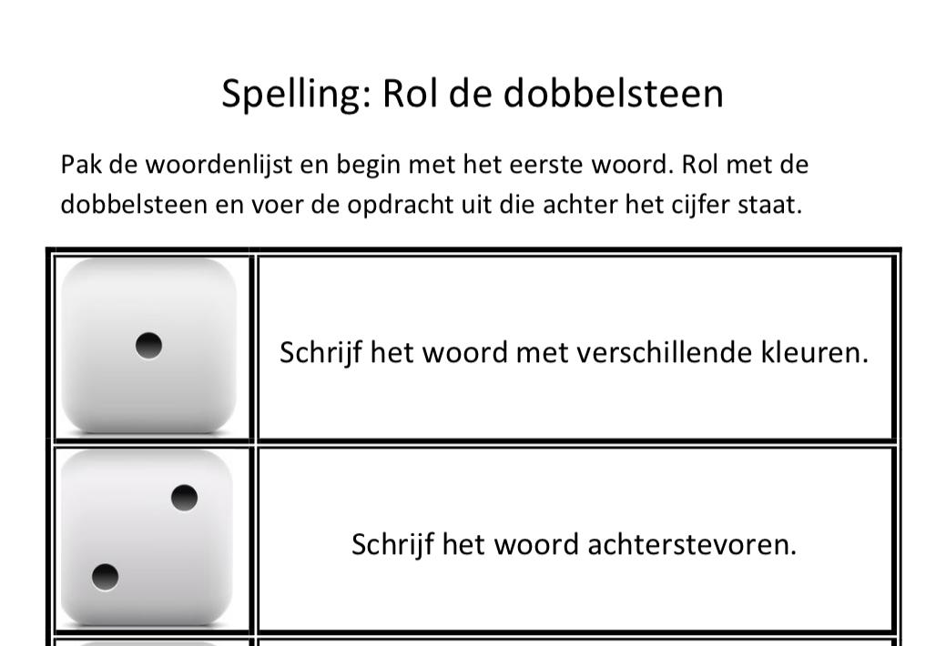 Spelling oefenen met dobbelsteen