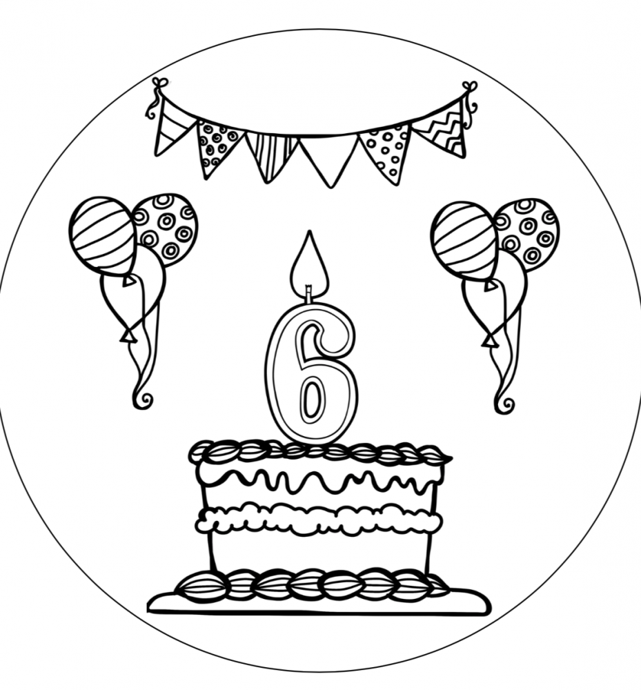 Verjaardagshoed 6 jaar zwart wit