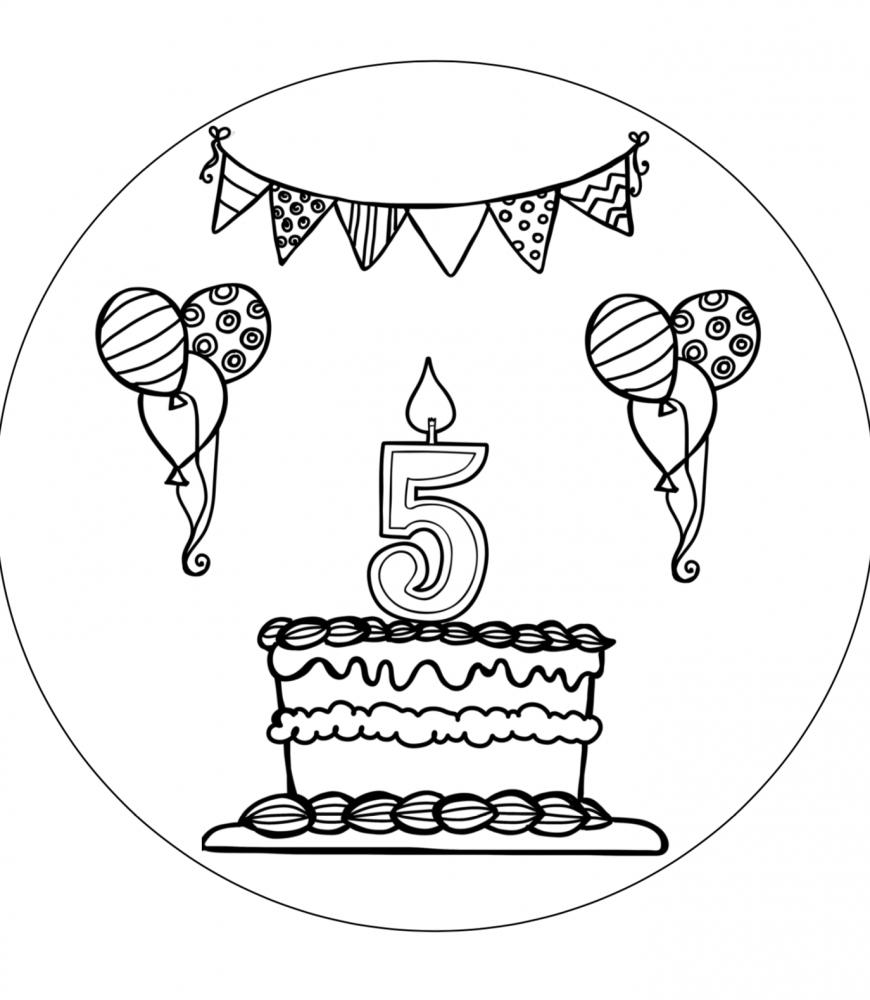 Verjaardagshoed 5 jaar zwart wit