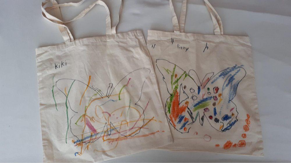 linnen tasjes met tekening moederdag