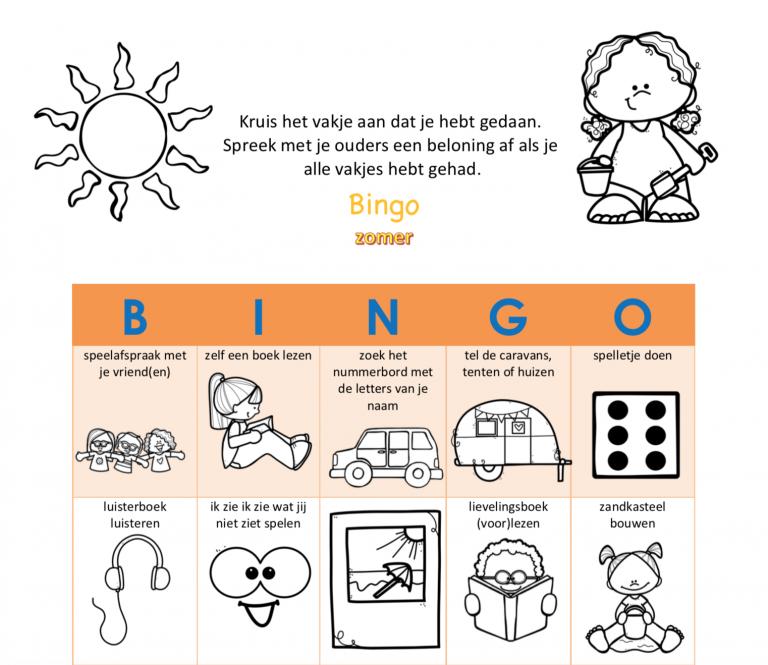 Bingo zomer kleuters