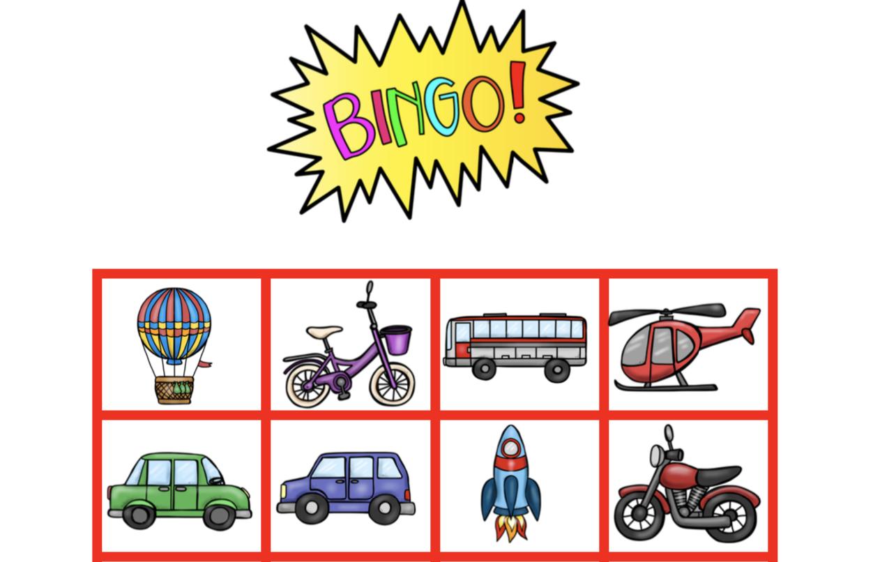 Thema vervoer bingo