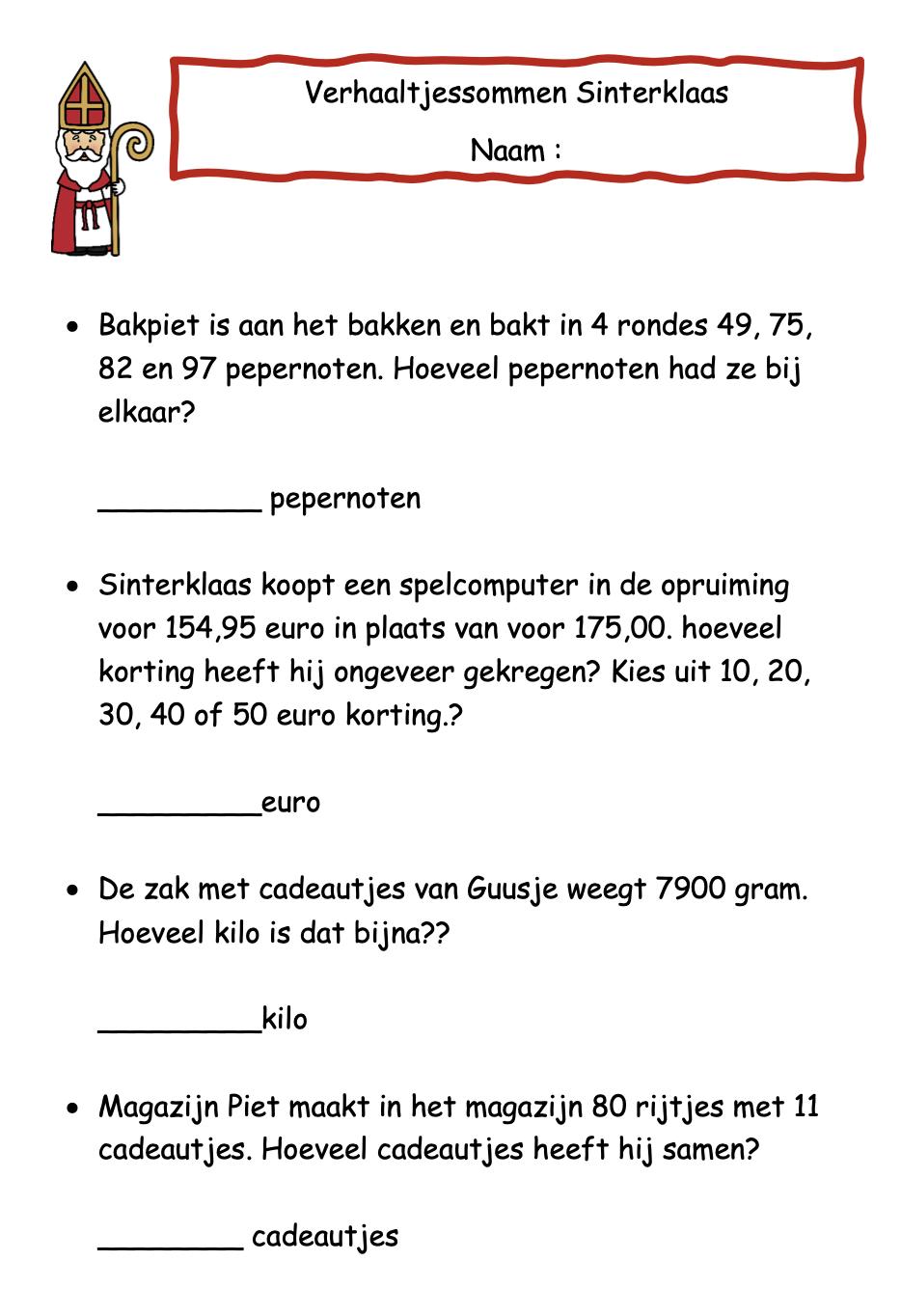Verhaaltjessommen groep 6 Sinterklaas