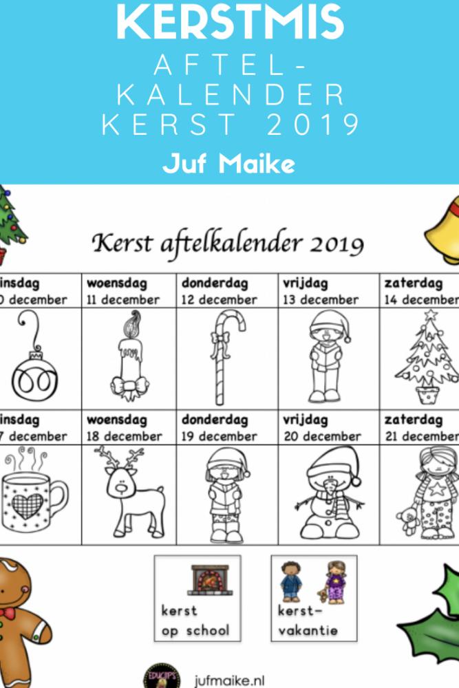 Kerstmis aftelkalender; Tel de dagen tot de kerstvakantie af samen met je kleuter