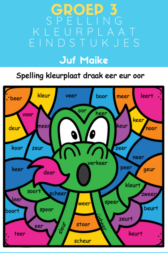 Groep 3 kleurplaten spelling eindstukjes