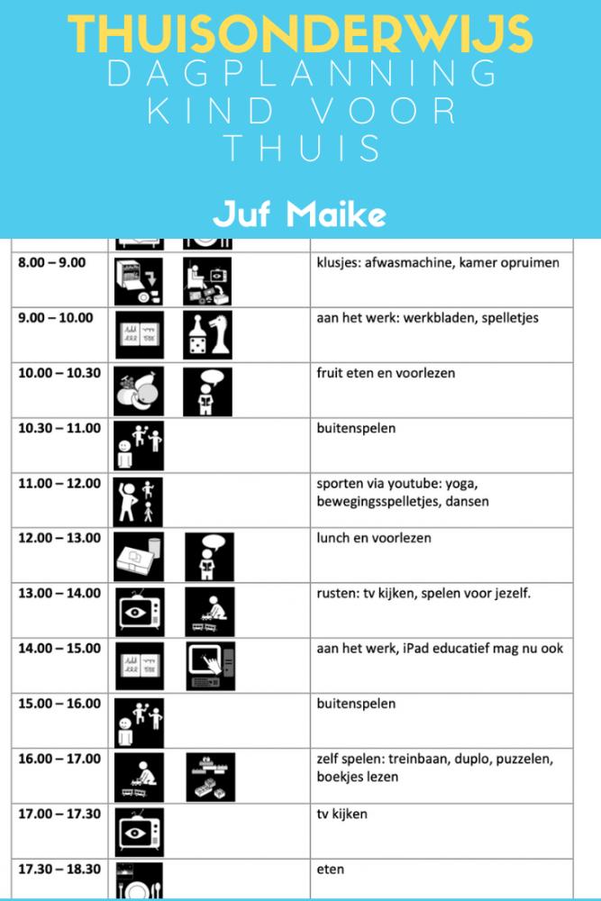 Thuisonderwijs; Dagplanning voor kind thuis