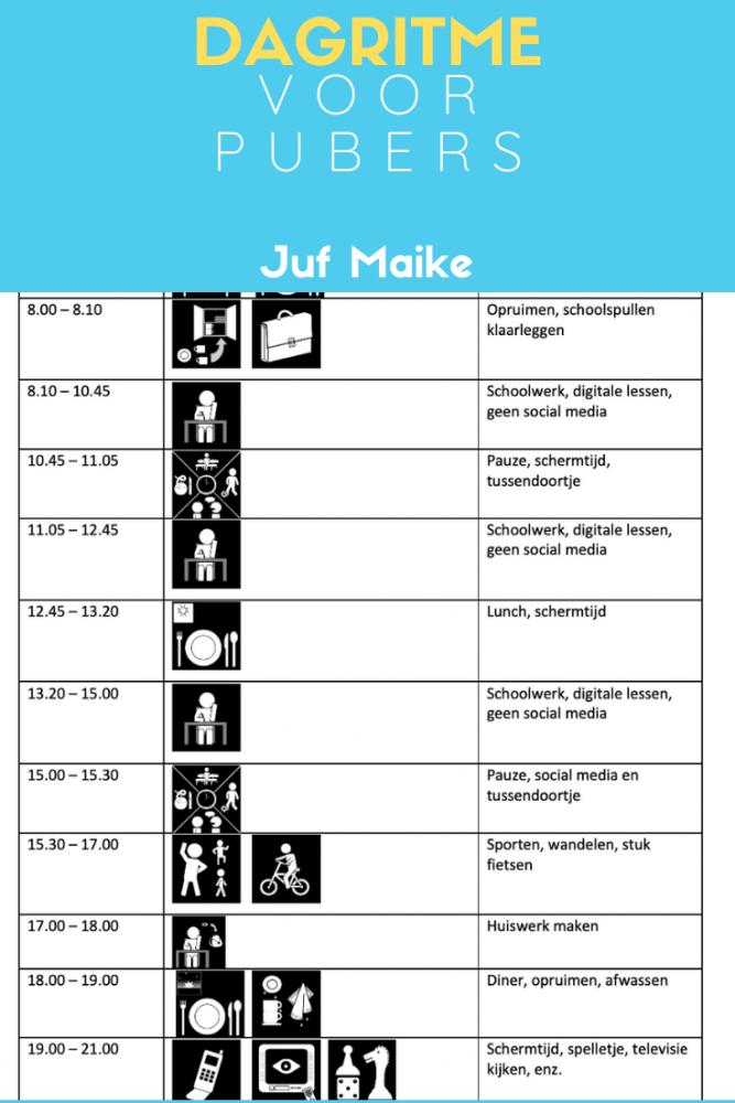 Dagritme voor pubers voor planning en structuur