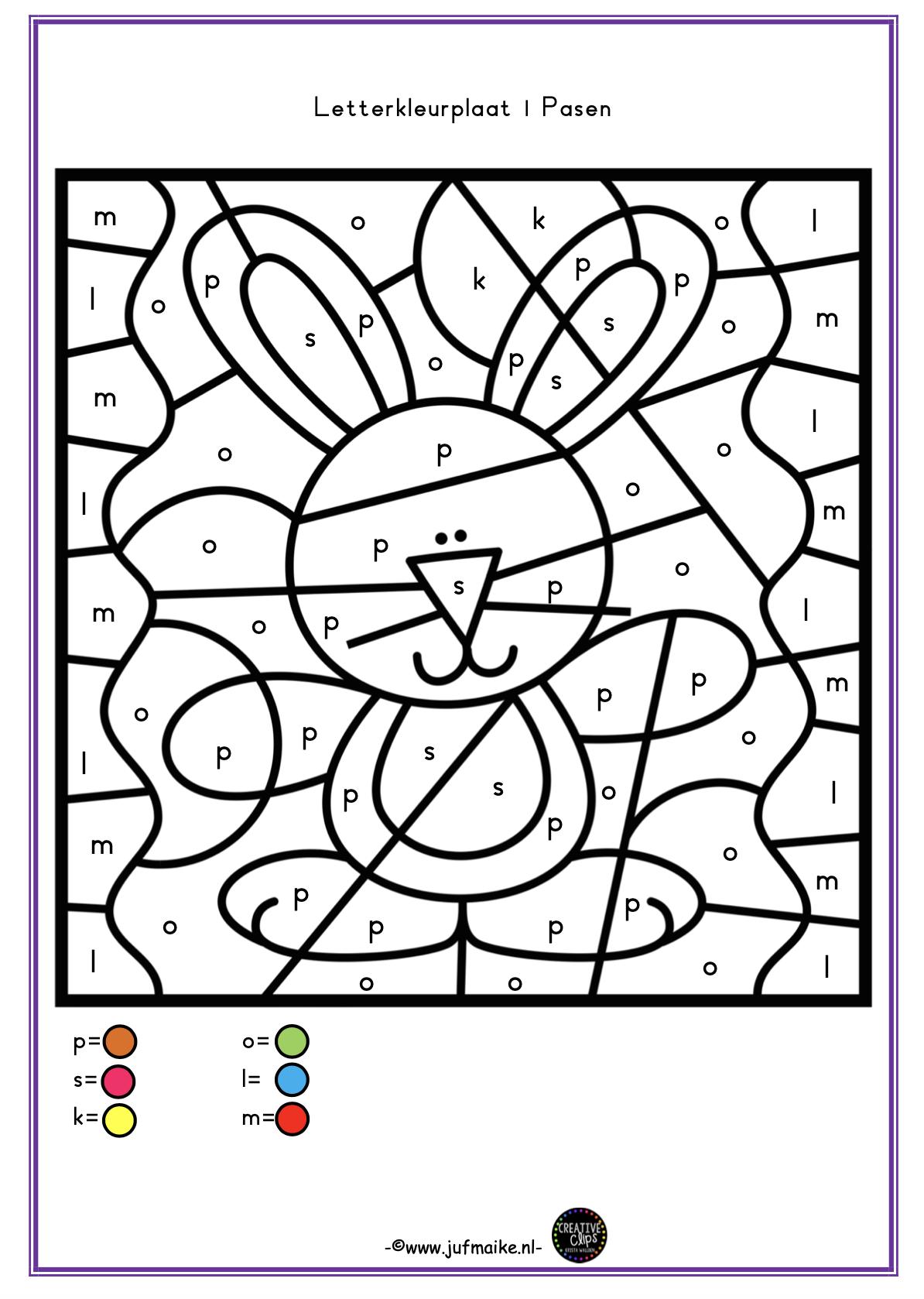 kleuren op code lente en pasen samen juf maike tips