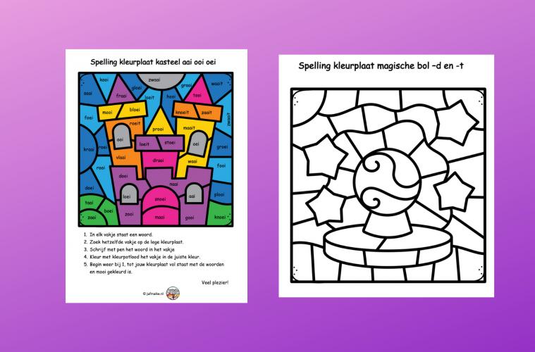 Spelling kleurplaat eindstukjes