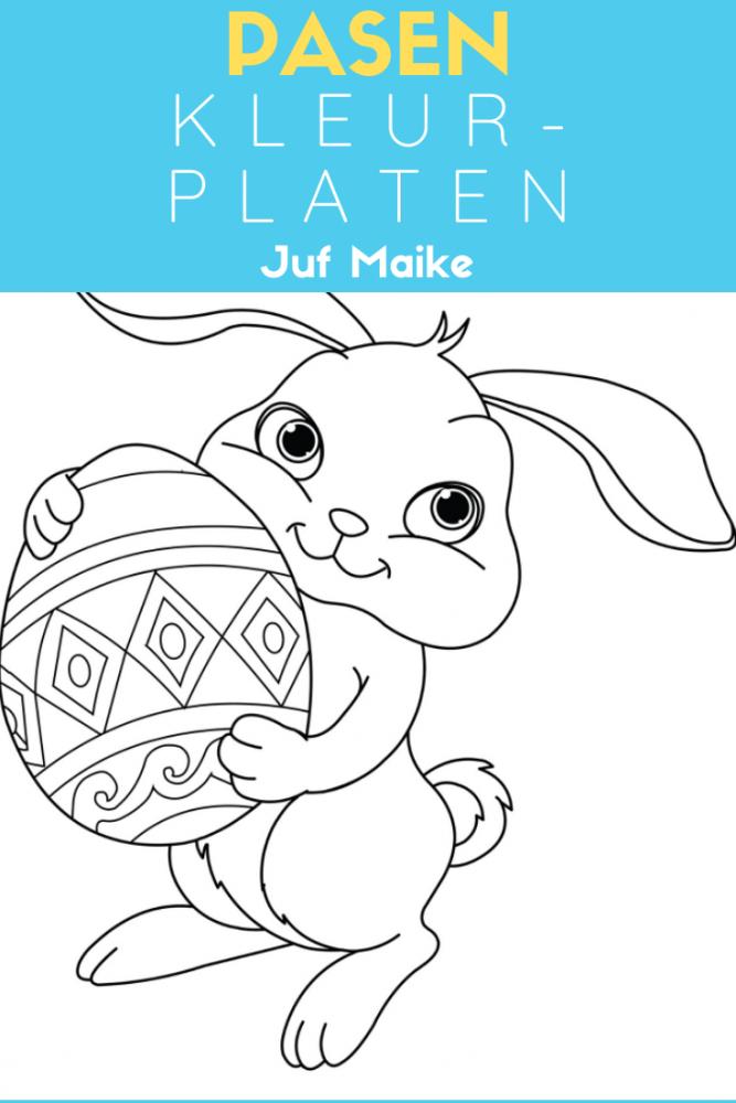 Gratis download kleurplaten thema Pasen; Ook cijferkleurplaten; Paashaas, eieren, kuiken