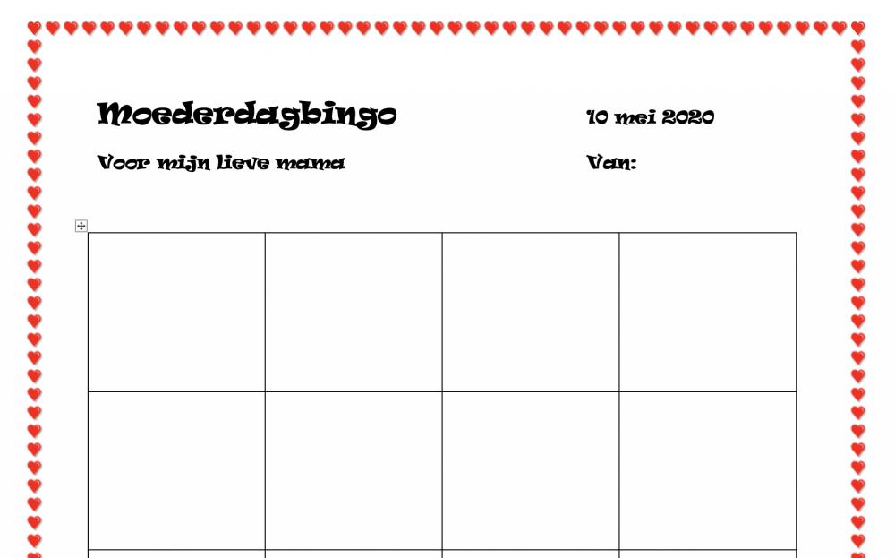 Moederdag bingo