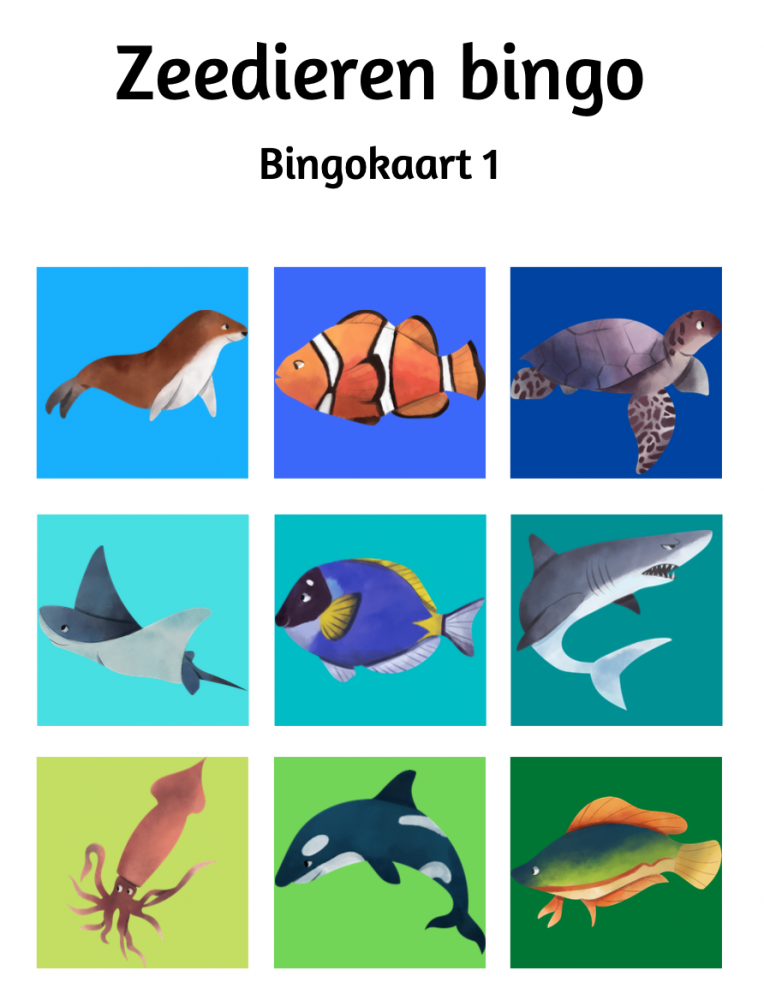 Zeedieren bingo