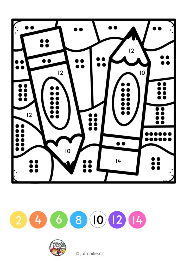 Kleuren op code naar school gratis